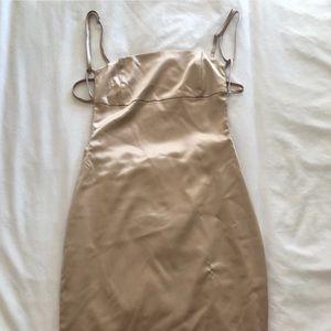 Oh Polly Gold Satin Bodycon Dress